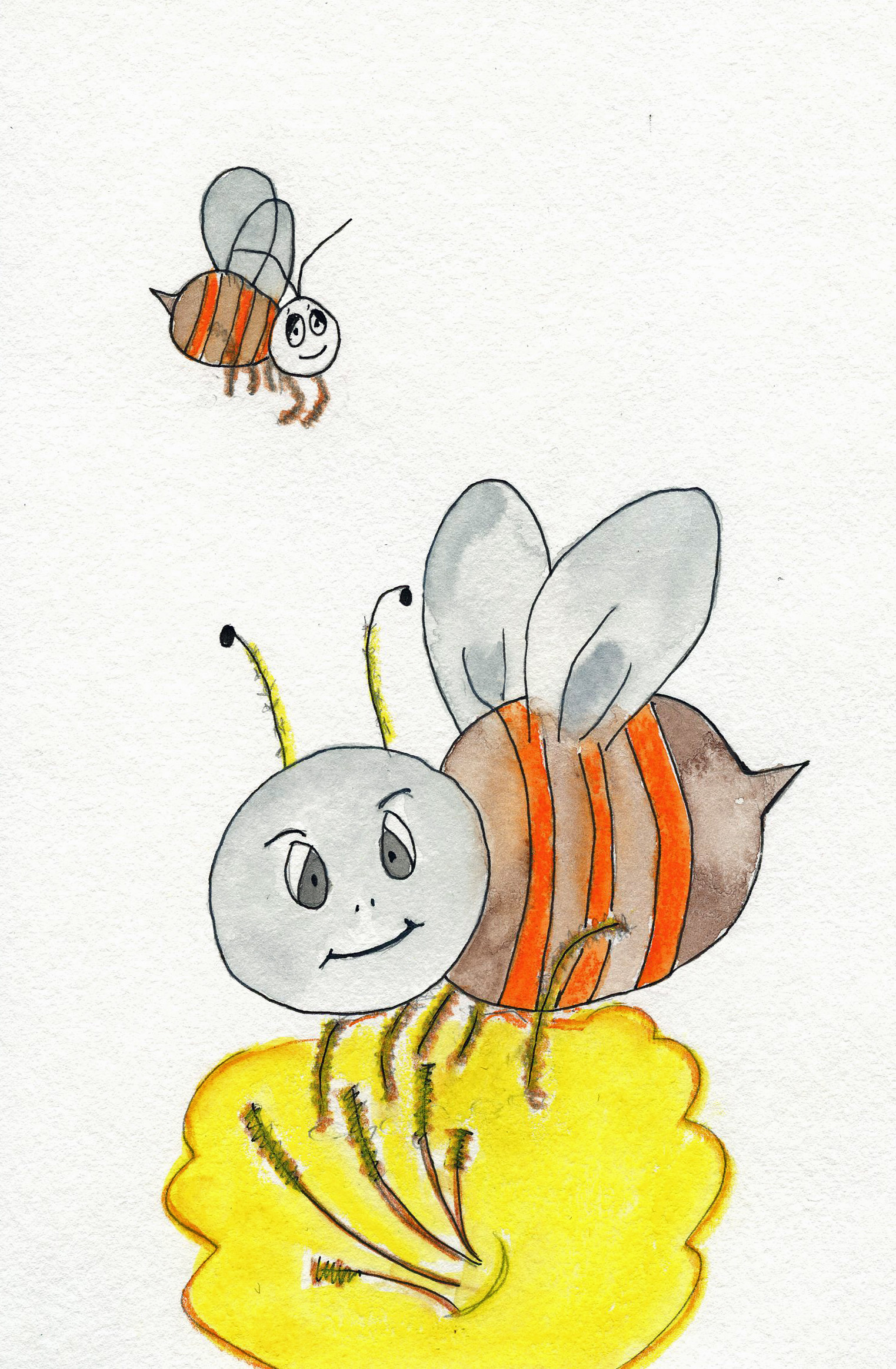 Bee illustration by Books Make Booms illustrator Mary Rensberry.  From the Custom Book BZZZ written by Michigan author and artist Richard Rensberry.