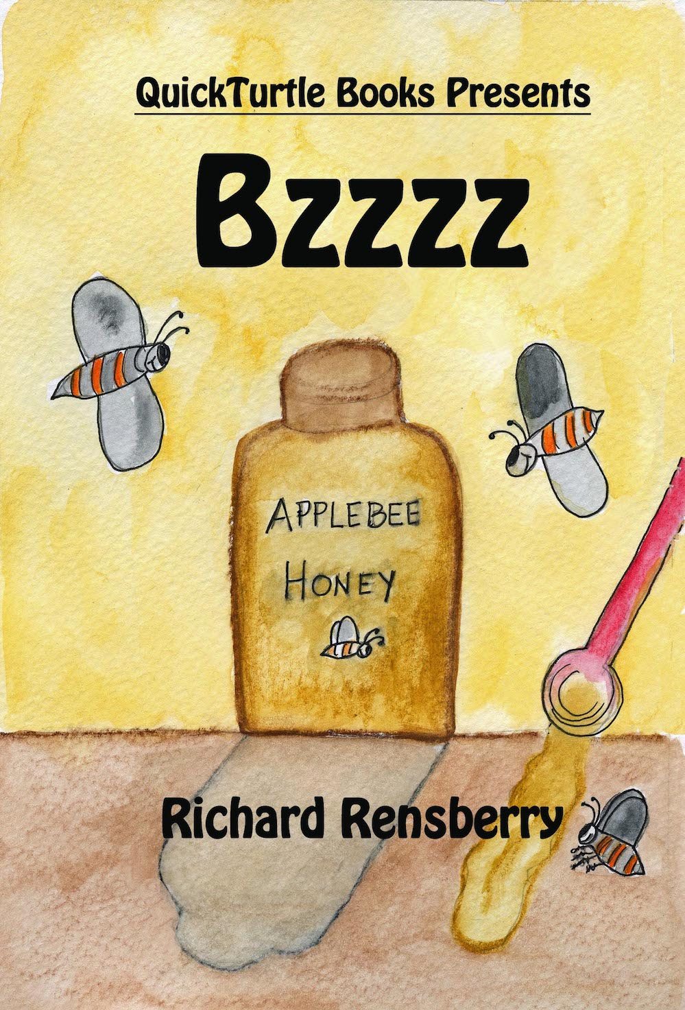 Custom book for bees and honey production written, illustrated and published by Michigan authors and artists Richard and Mary Rensberry.