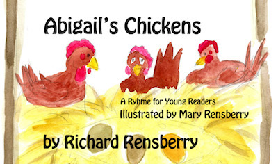 Illustration for chicken book, Abigail's Chickens.  Written, illustrated and published by Books Make Booms authors Richard and Mary Rensberry.