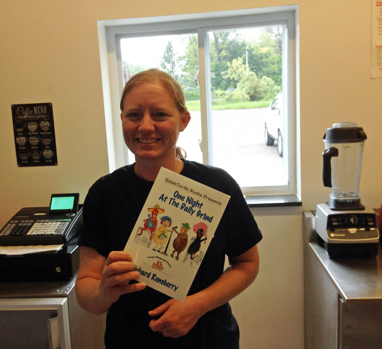 Books Make Booms custom book for Michigan coffee shop owner.  Written, illustrated and published by Richard and Mary Rensberry.