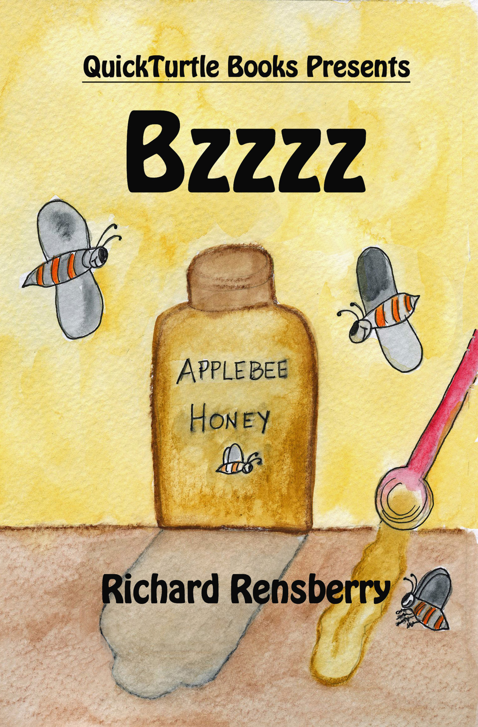 Custom book BZZZ created for Apple Bee Honey of Fairview Michigan.  Written by Michigan author Richard Rensberry.  Illustrated by Mary Rensberry.