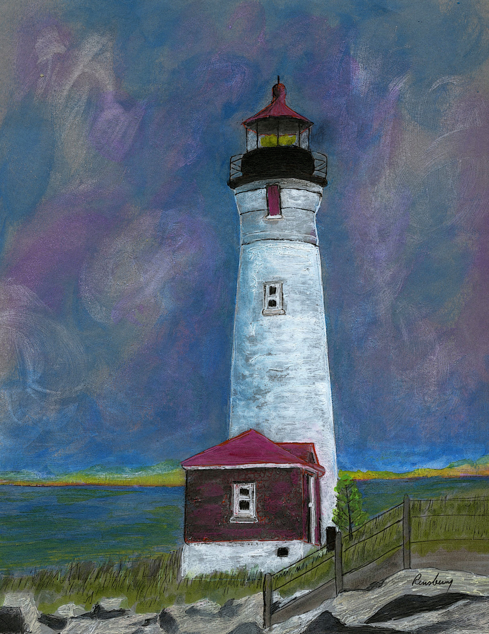 Crisp Point Lighthouse art print of painting by Michigan artist and author Richard Rensberry