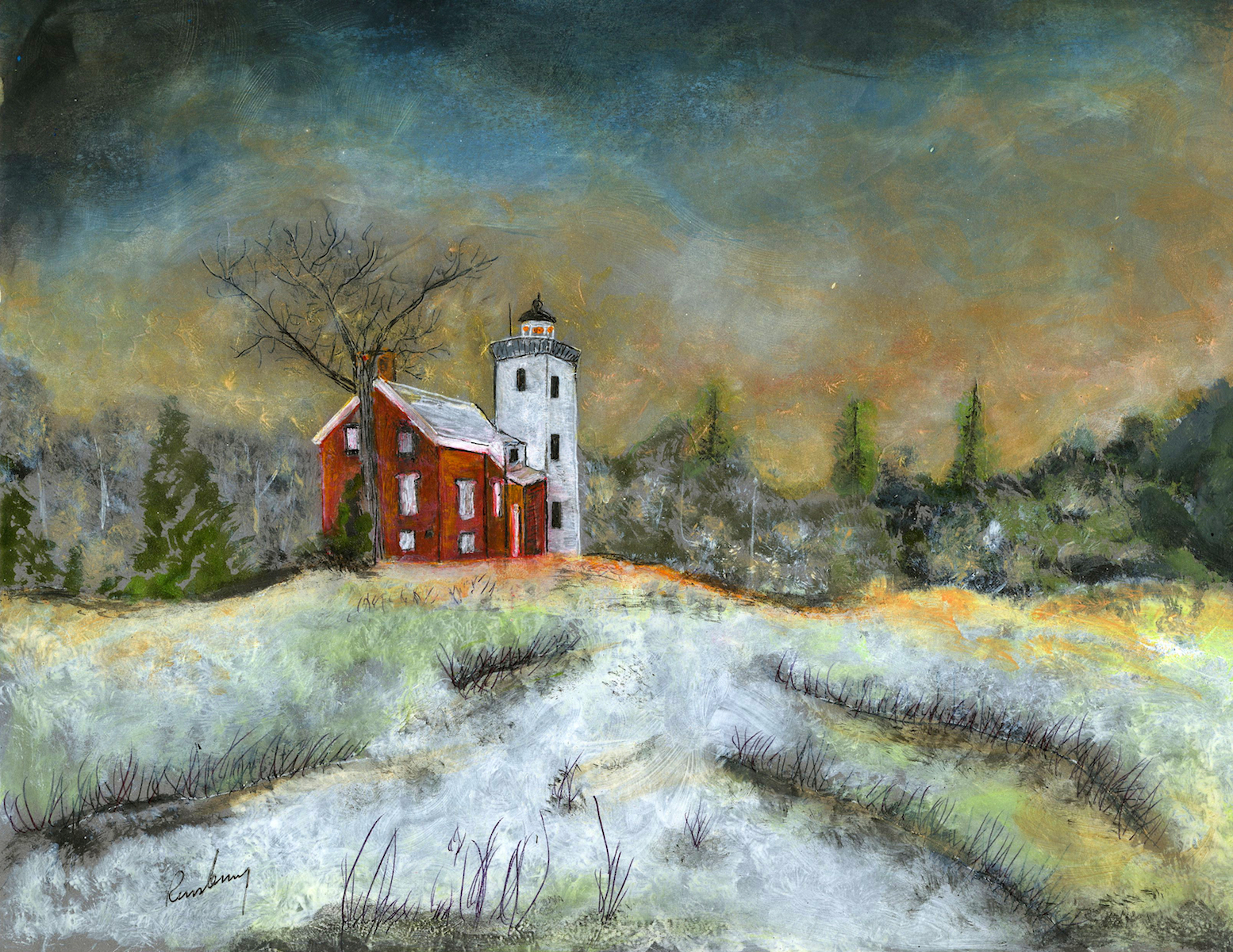 This 40 Mile Point Lighthouse Art Print is a soft winter scene at dusk.  It is a matte print of Richard Rensberry's liquid acrylic ink on paper.