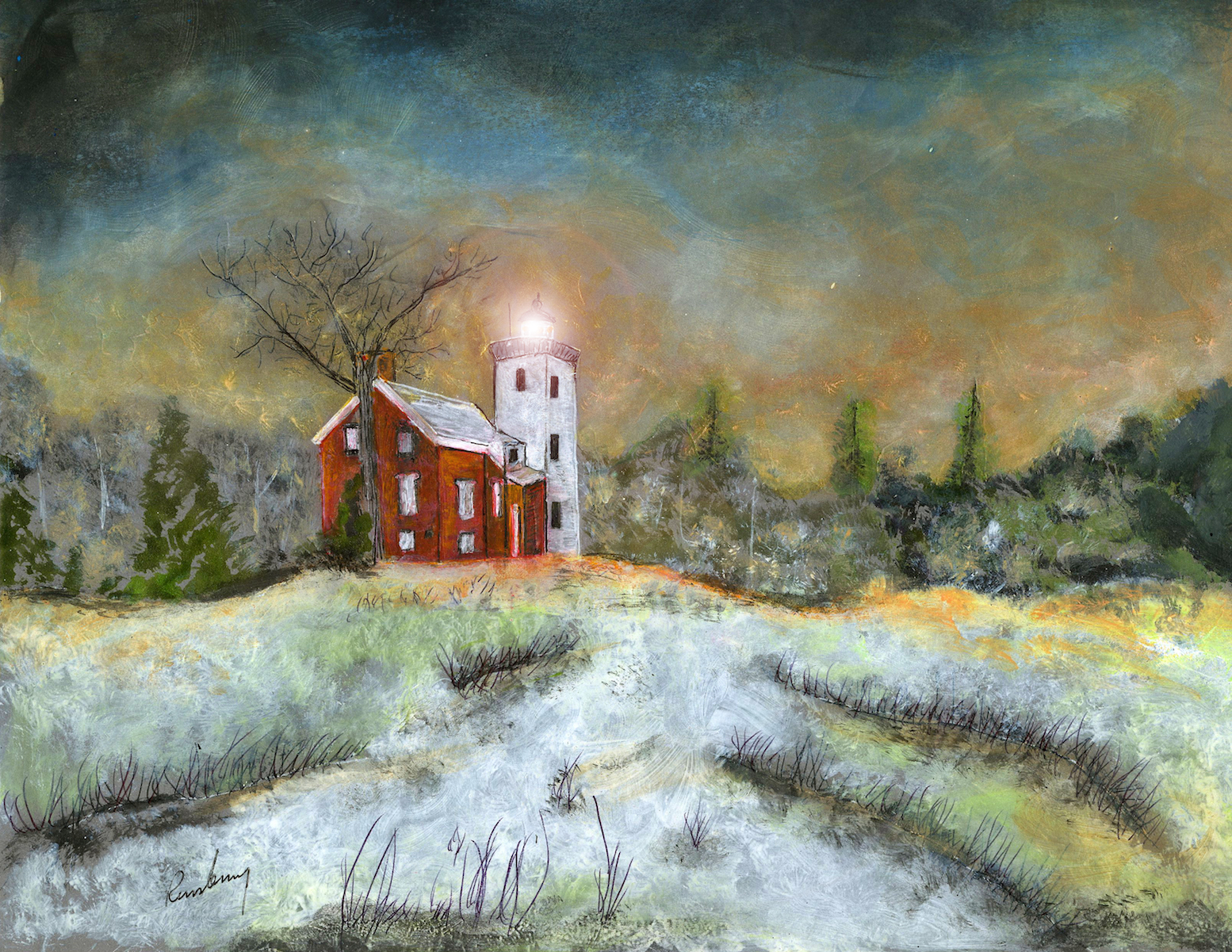 Forty Mile Point Lighthouse lit by Michigan artist Richard Rensberry.