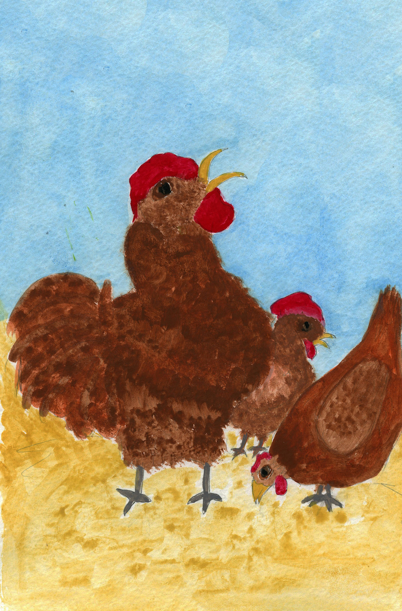 Illustration for chicken book, Berry Berry Sweet.  Written, illustrated and published by Books Make Booms authors Richard and Mary Rensberry.
