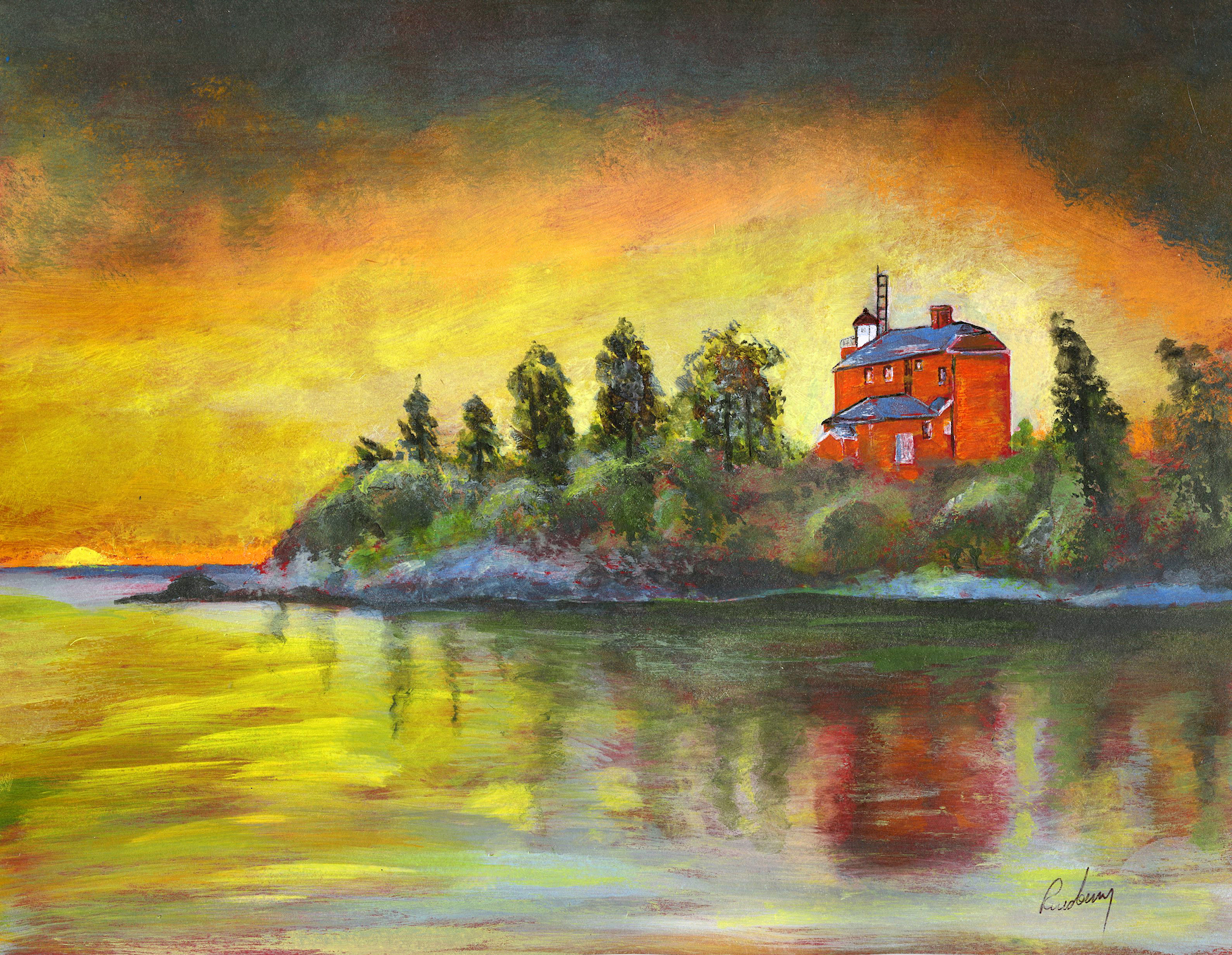 Marquette Harbor Lighthouse print is of a brilliant summer sunset.  It was painted in liquid acrylic ink on paper by Michigan artist and author Richard Rensberry