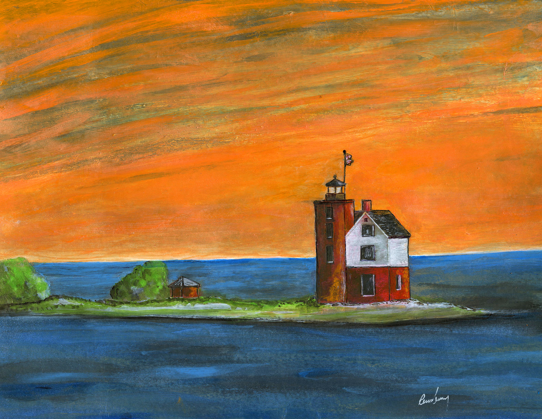 Round Island Lighthouse Art Print is a painting by Michigan artist Richard Rensberry with the flag flying at sunset.