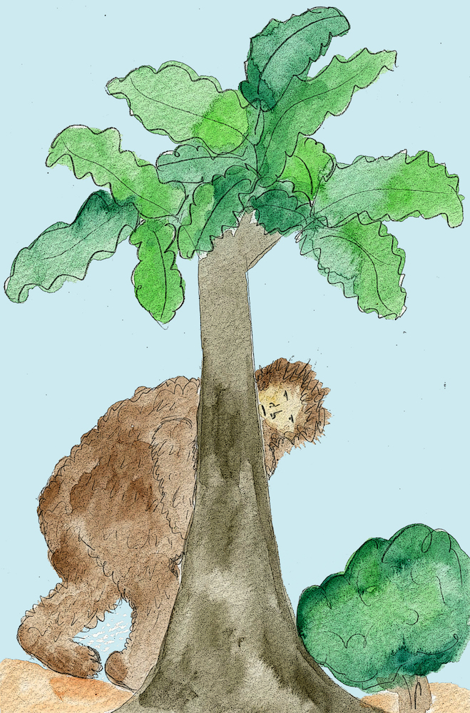 Bigfoot illustration from the kid's book Sasquatch.  Written, illustrated and published by Michigan authors and artists Richard and Mary Rensberry.