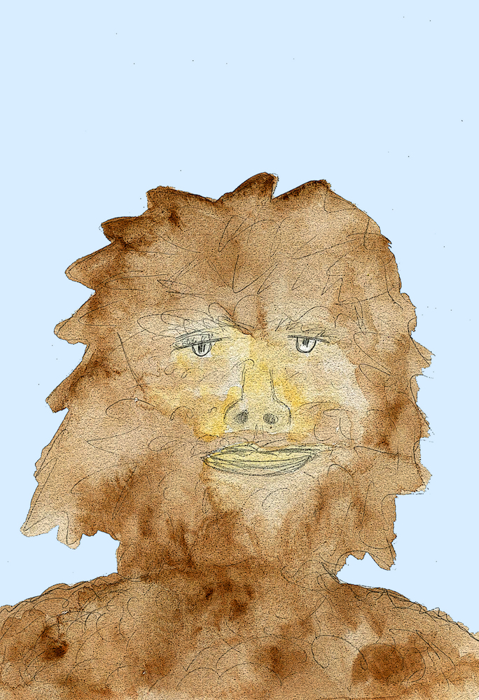 Sasquatch illustration from the kid's book Sasquatch.  Written, illustrated and published by Michigan authors and artists Richard and Mary Rensberry.