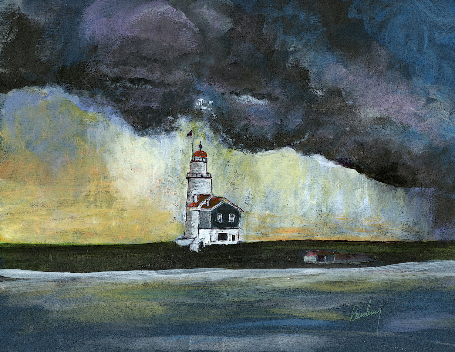 This lighthouse print by Michigan Author and artist Richard Rensberry is of a storm moving in over an unknown lighthouse