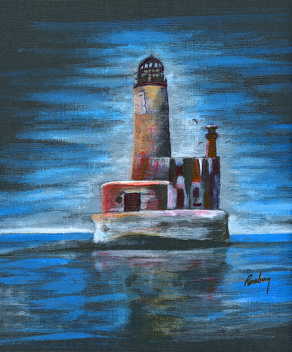 Old Wobbly Shanks Lighthouse art print is a painting by Michigan Author and Artist Richard Rensberry.