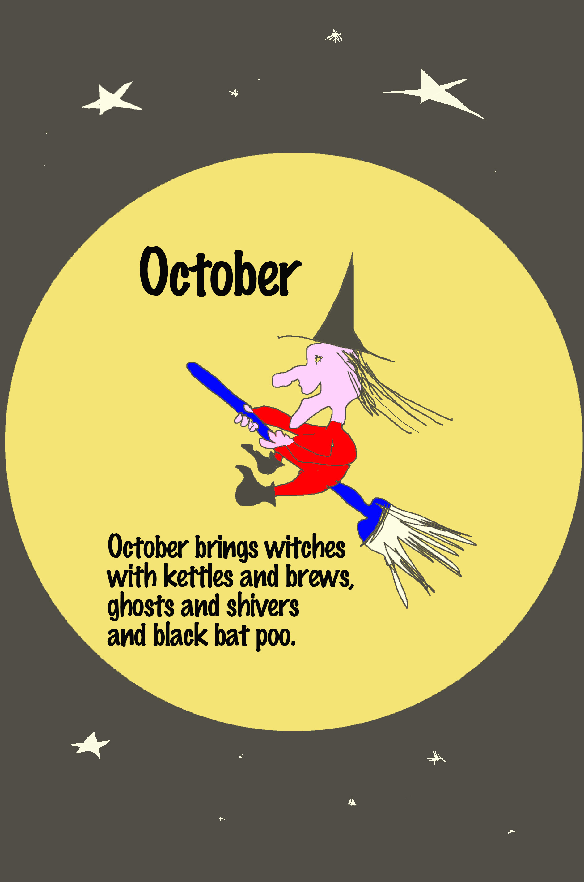Witch illustration by Michigan author and artist Richard Rensberry for kid's book Twelve Months Make A Year.