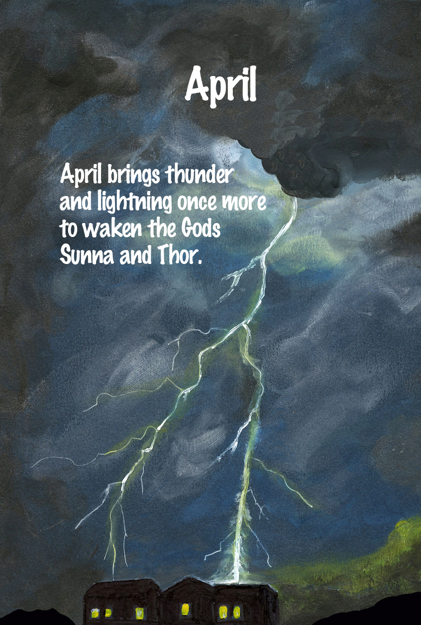 Illustration of lightning storm painted by Michigan author and artist Richard Rensberry for kid's book Twelve Months Make A Year.