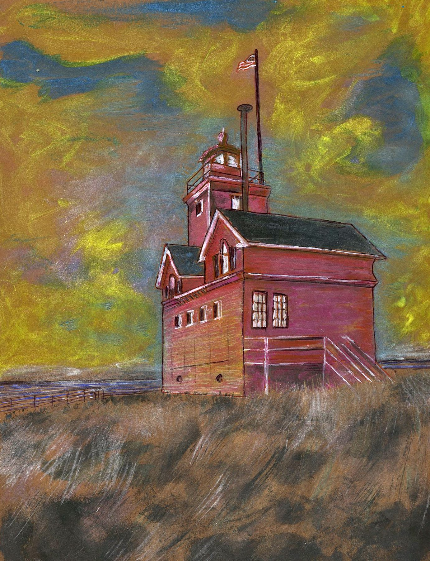 Holland Harbor Light, known as Big Red, is located at the channel entrance connecting Lake Michigan with Lake Macatawa, and gives access to the city of Holland, Michigan. Painting by Richard Rensberry